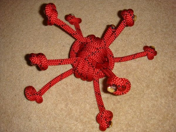 Red monkey fist knot ball with ends untucked