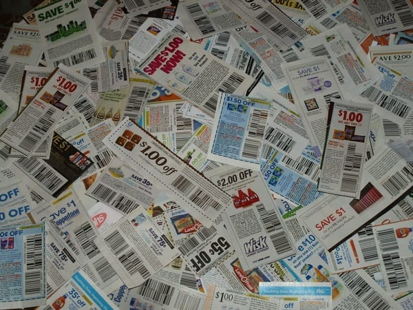pile of coupons spread out on a surface