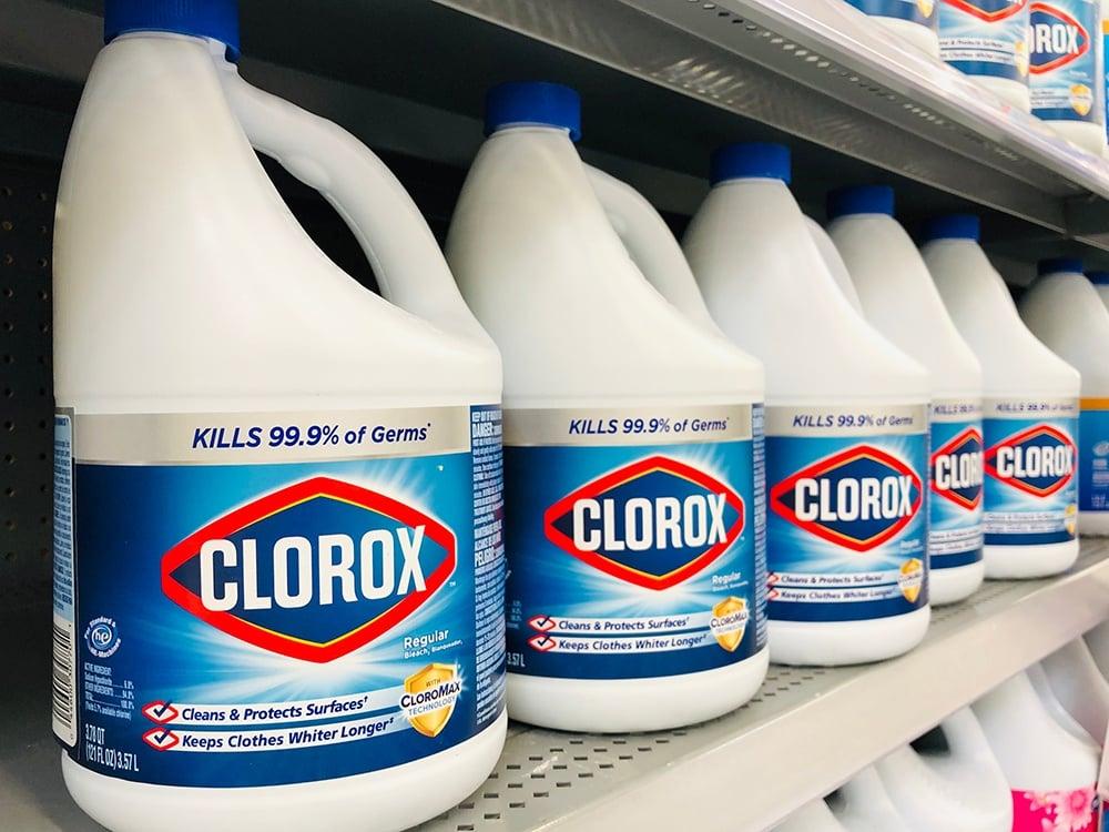 a row of Clorox Bleach on a store shelf