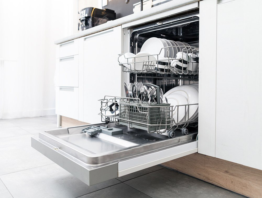 open dishwasher full of clean dishes