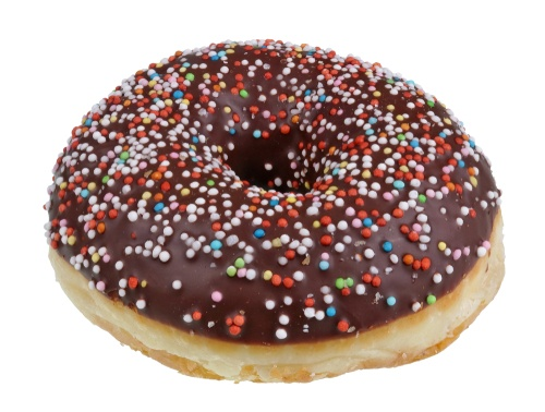 chocolate covered donut with sprinkles