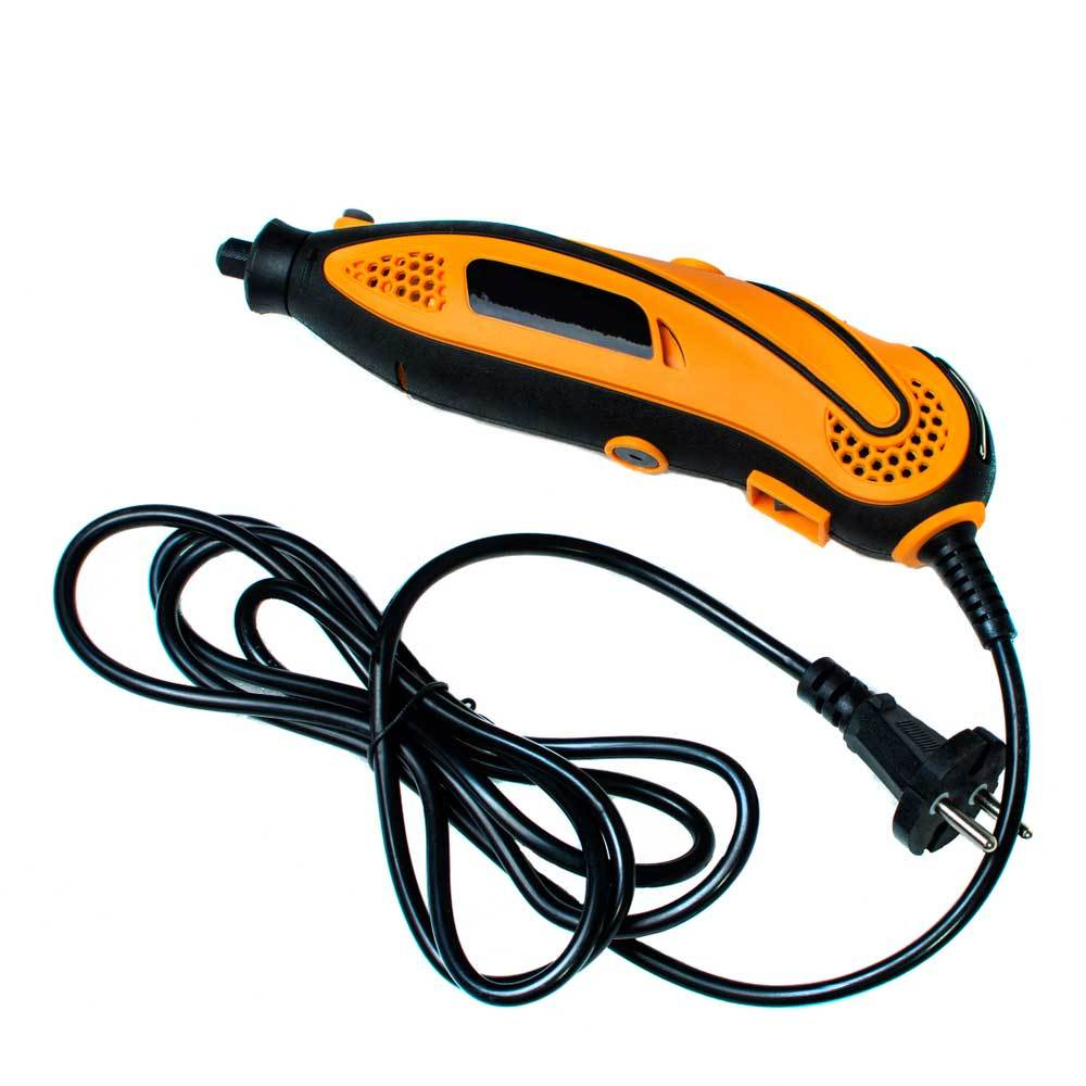 Yellow rotary tool with cord on white background