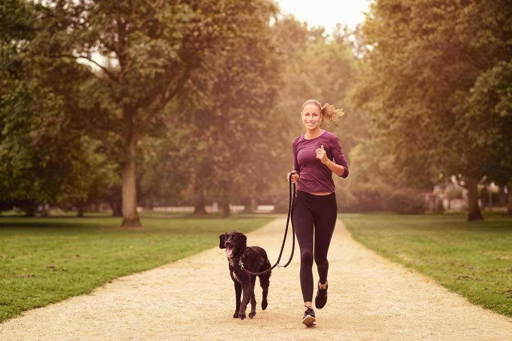 Woman jogging with dog on a path in a park