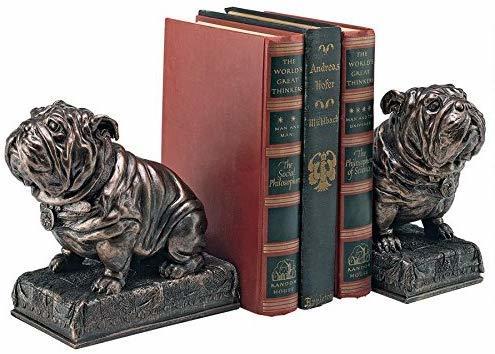 Design Toscano British Decor Bulldog Mascot Bookend Statues, 6 Inch, Set of Two, Bronze Finish