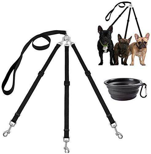 MoSANY 3 Way Dog Leash + a Collapsible Travel Bowl, Nylon Adjustable Coupler No Tangle Detachable 3 in 1 Multiple Dog Pet Cat Puppy Leash with Soft Padded Handle