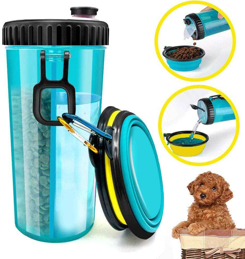 iDogiCat Dog Water Bottle for Walking - 2 in 1 Portable Travel Dual Chambered Pets Drinking Cup Dispenser Mug and Food Container with 2 Collapsible Bowls