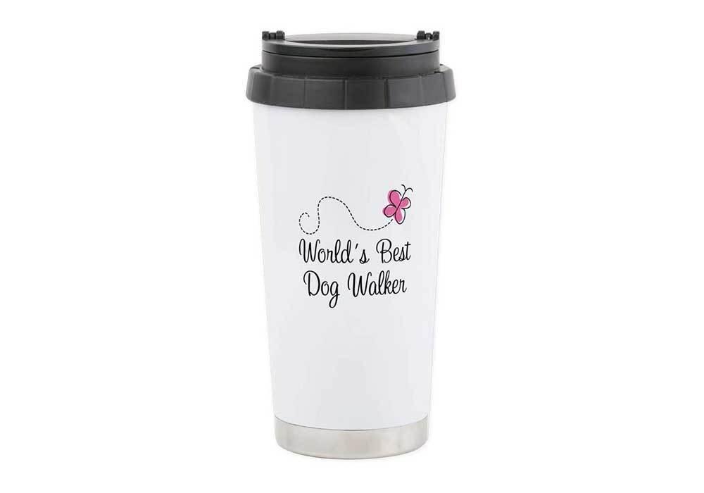 CafePress Dog Walker (World's Best) Stainless Steel Travel M Stainless Steel Travel Mug, Insulated 16 oz. Coffee Tumbler