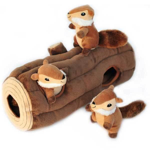 ZippyPaws Log and Chipmunks Hide & Seek Dog Toy, X-Large, Puzzle Set