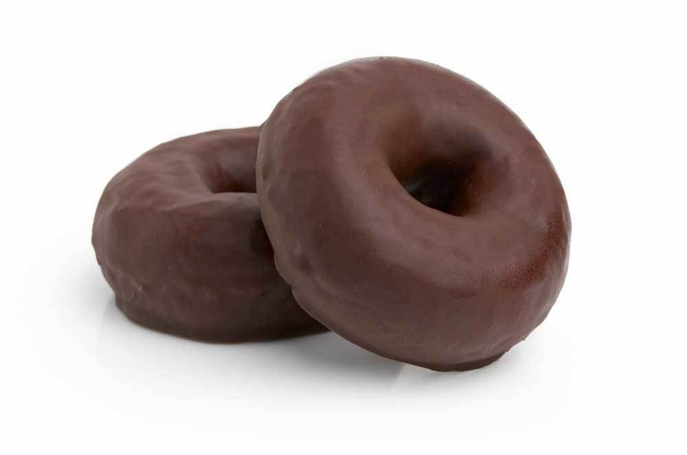 2 chocolate covered doughnuts on a white background.