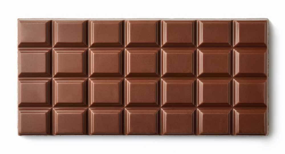 Plain chocolate bar on white background