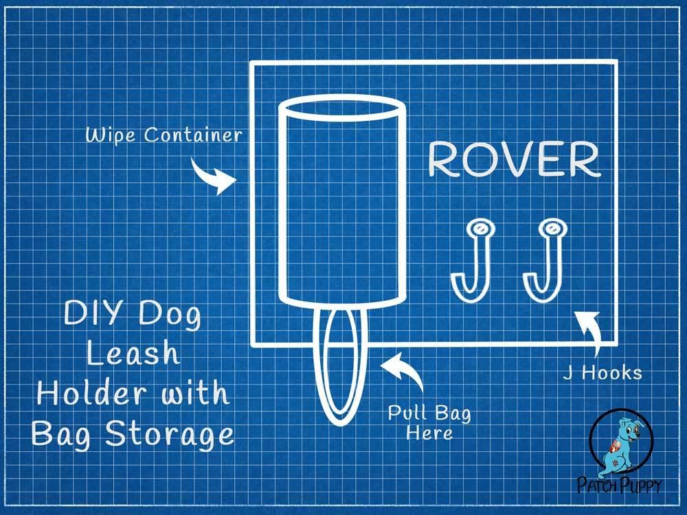 Blueprint for DIY Dog Leash Holder with Bag Storage