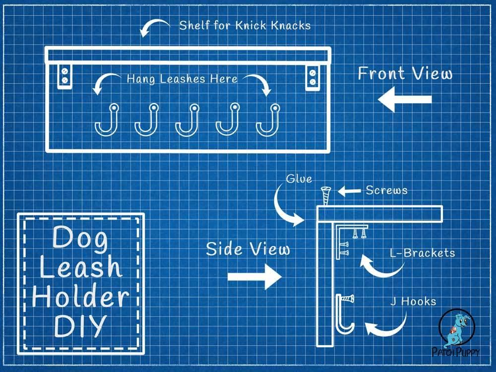 Blue Print for Dog Leash Holder with Shelf