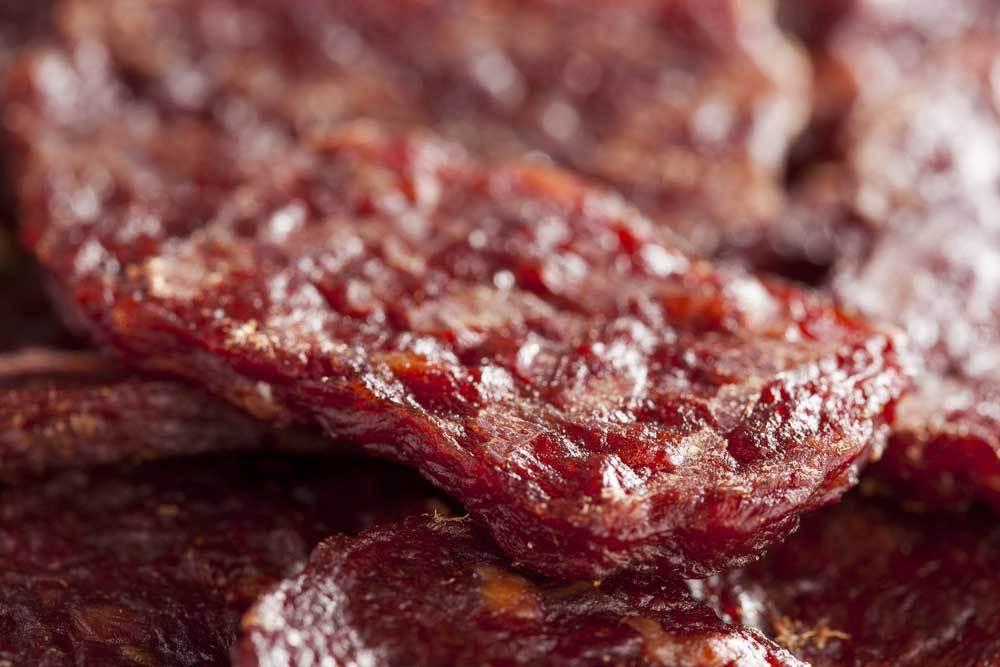 Close up of beef jerky
