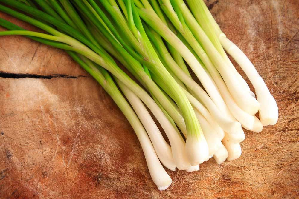 bunch of green onions on wood surface
