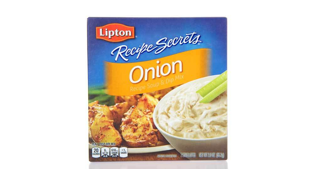 package of Lipton Recipe Secrets Onion soup mix