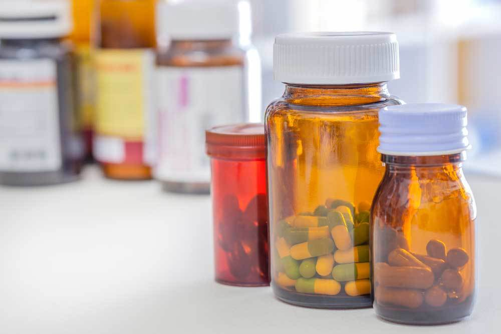 bottles of medicine on a counter