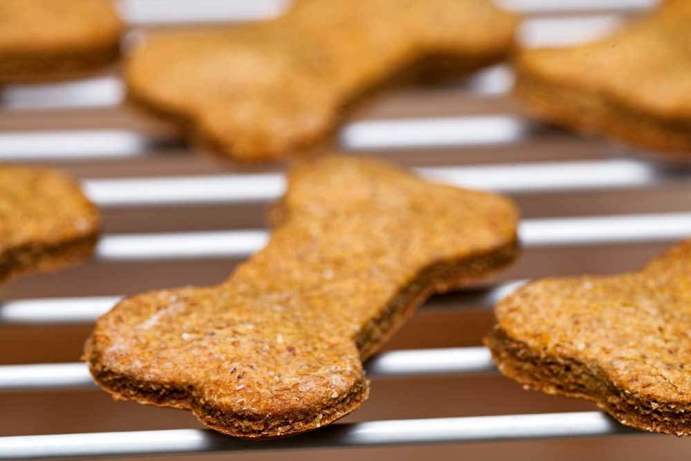 bone shaped dog biscuits on a cooling rack.