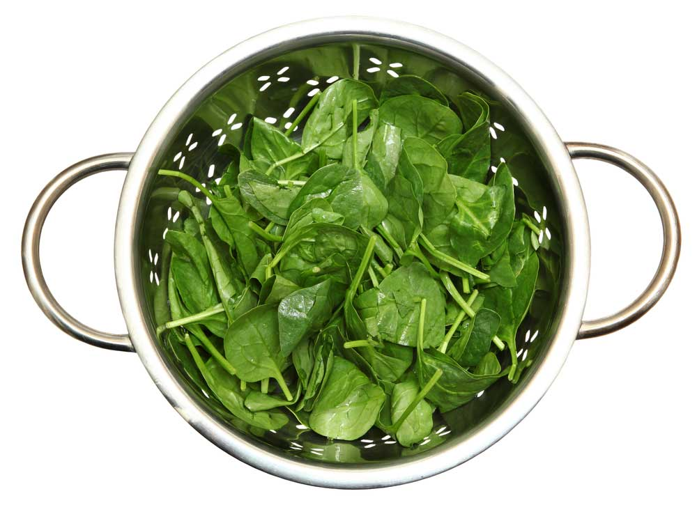 spinach in a silver colander on white background