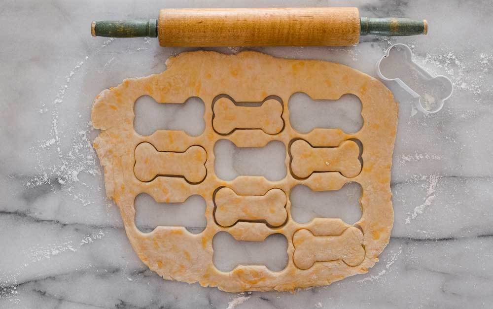 rolled out dog biscuit dough with a rolling pin