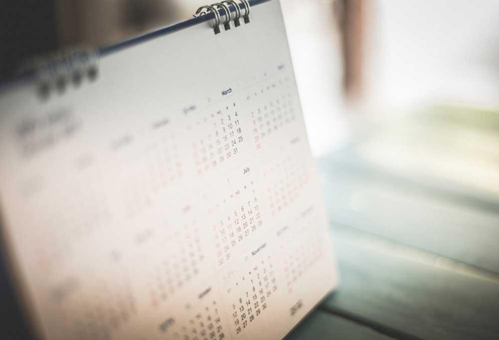 Blurred image of a calendar