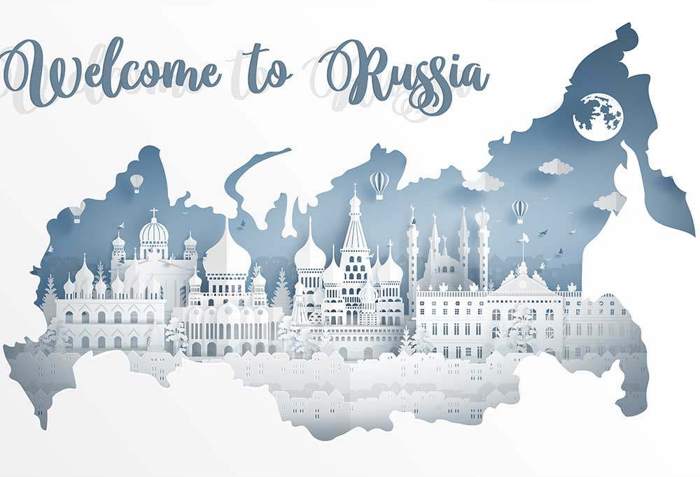 layered outline of Russia with silhouettes if building inside and the words Welcome to Russia