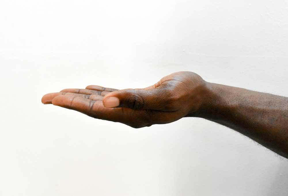 a mans hand palm facing up