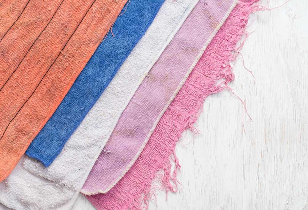 old towels layered diagonally