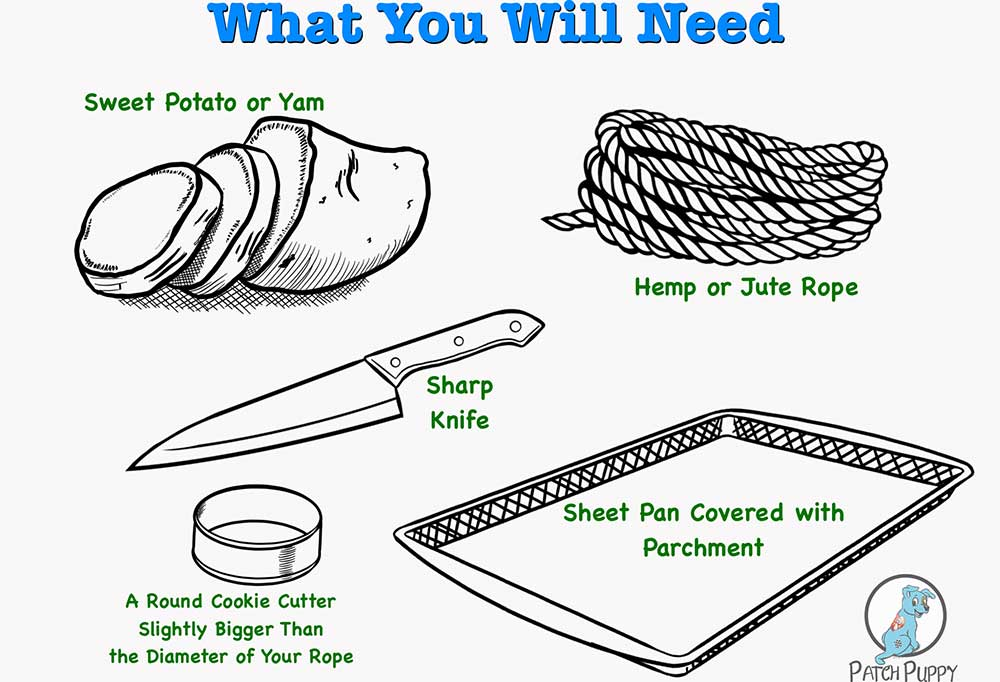How to Make Sweet Potato Dog Treats on a Rope illustration of things you will need