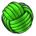 Illustration of a green Monkey's Fist rope ball