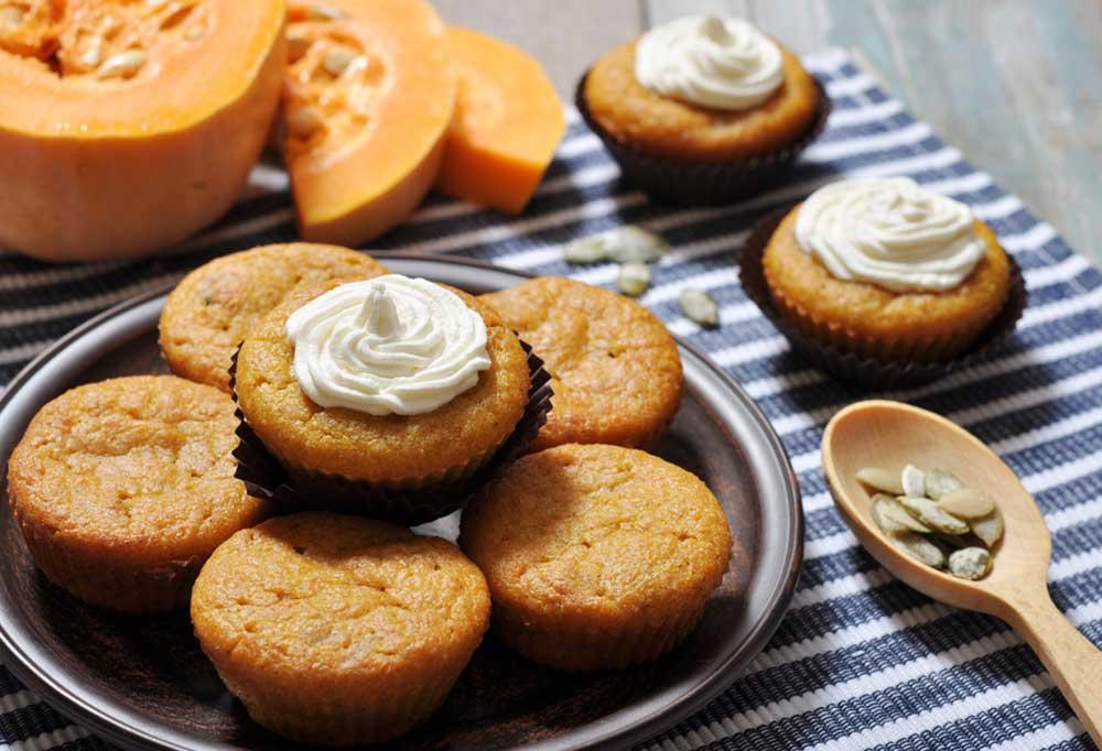 pumpkin cupcakes on a plate