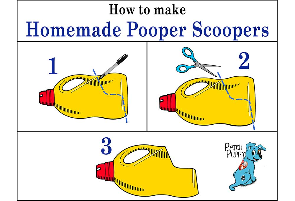 Illustration of instruction to make homemade pooper scooper from a laundry bottle