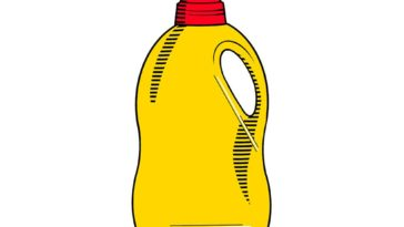 Illustration of a Yellow and Red laundry bottle