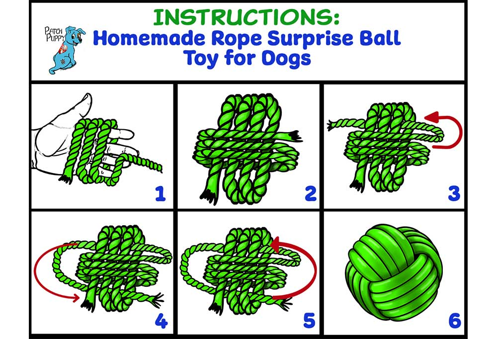 Instructions for how to make a homemade rope surprise ball toy for dogs