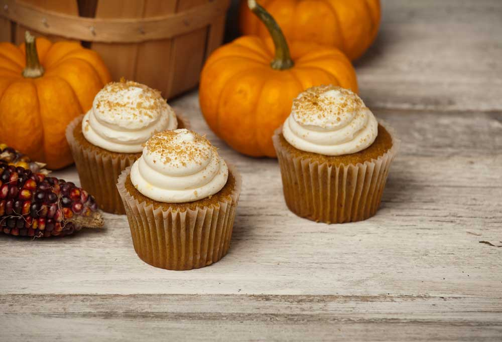 Pumpkin cupcakes with cream cheese icing on wooden table with pumpkins and dried colored corn