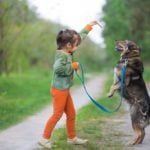 Child holding a treat up in the air for dog on a leash to jump