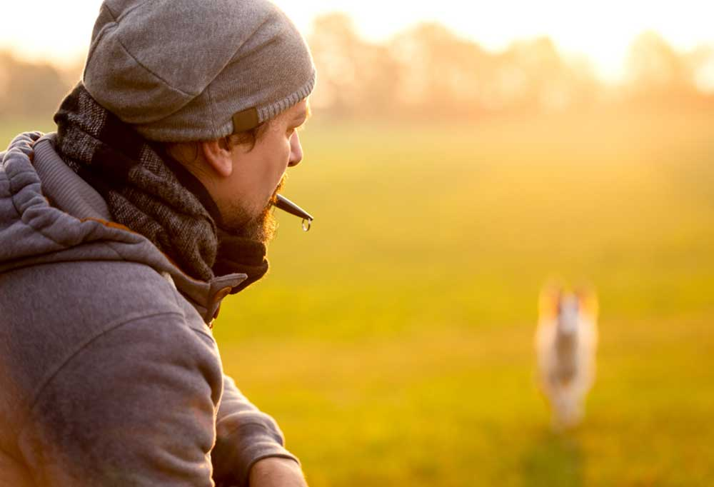 Man in foreground wearing sweats and a beanie cap with a dog whistle in his mouth calling a dog in the background running through a field