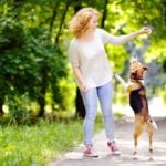 Woman with something in her hand held out with dog jumping up