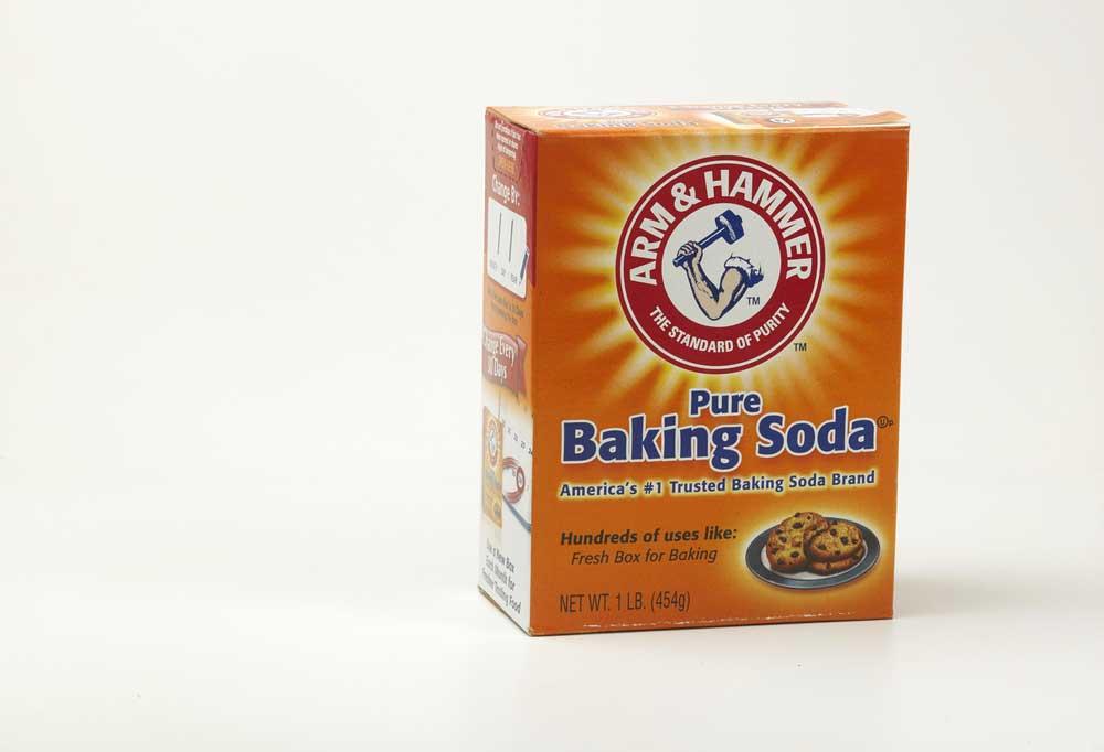Box of Arm & Hammer Baking Soda on a white background
