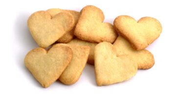Heart Shaped cookies on a white background