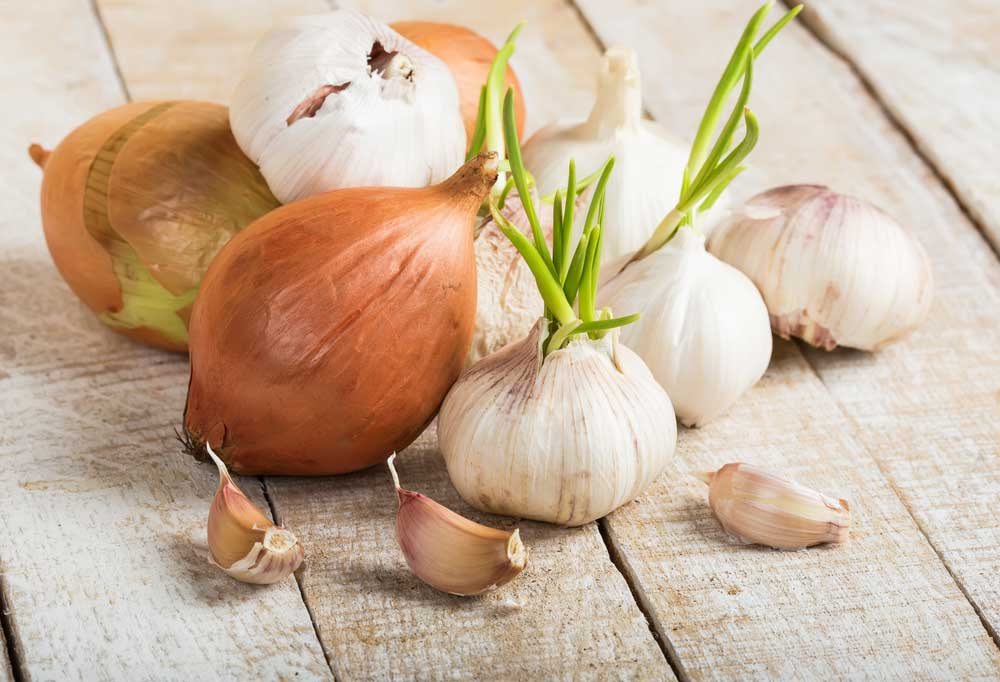 Onion and garlic bulbs on a wooden table